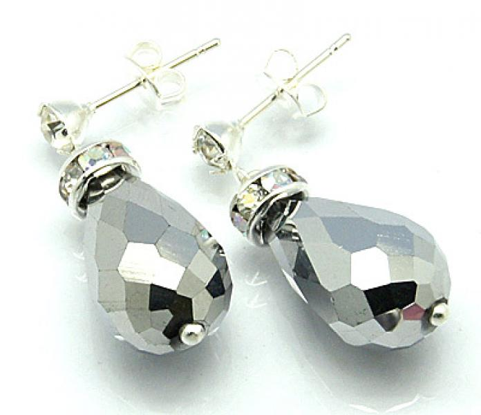 Silver Effect Sparkling Facetted Crystal Earrings
